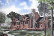 Log Style House Plan - 3 Beds 2 Baths 2064 Sq/Ft Plan #17-483 Exterior - Front Elevation