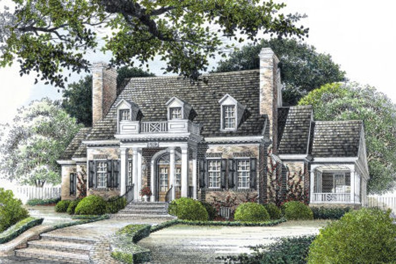 Classical Style House Plan - 4 Beds 3.5 Baths 3675 Sq/Ft Plan #429-16 Exterior - Front Elevation