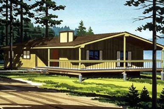 Cabin Exterior - Front Elevation Plan #320-407