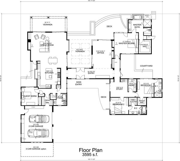 Dream House Plan - Modern Floor Plan - Main Floor Plan #484-9