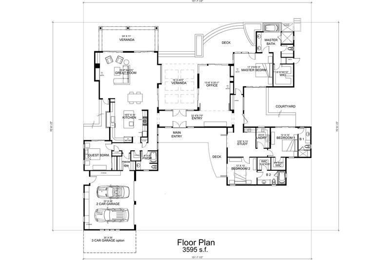Modern Floor Plan - Main Floor Plan Plan #484-9