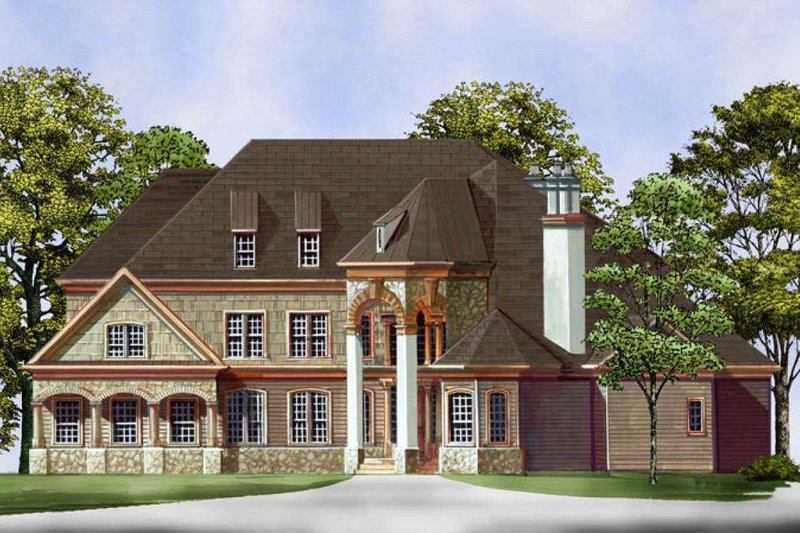 European Style House Plan - 4 Beds 2.5 Baths 2979 Sq/Ft Plan #119-152 Exterior - Front Elevation