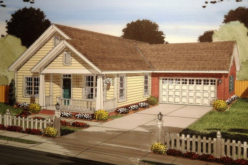 Ranch Exterior - Front Elevation Plan #513-2