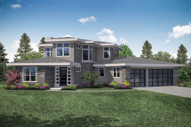 Contemporary Style House Plan - 3 Beds 3 Baths 3027 Sq/Ft Plan #124-1112 Exterior - Front Elevation