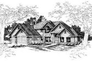 European Style House Plan - 4 Beds 3.5 Baths 3401 Sq/Ft Plan #124-304 Exterior - Front Elevation