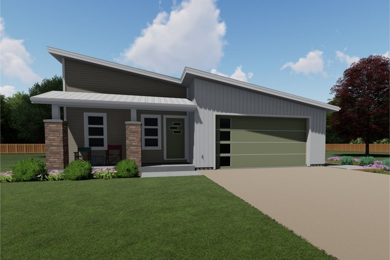 Home Plan - Contemporary Exterior - Front Elevation Plan #126-185