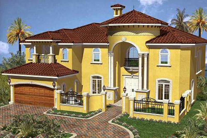 Mediterranean Style House Plan - 6 Beds 5.5 Baths 5445 Sq/Ft Plan #420-170 Exterior - Front Elevation