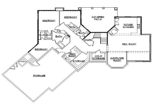 Mediterranean Floor Plan - Lower Floor Plan Plan #5-357