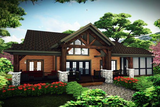 Craftsman Exterior - Rear Elevation Plan #70-1494