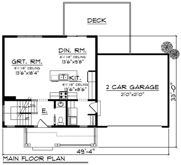 Architectural House Design - Farmhouse Floor Plan - Main Floor Plan #70-1454