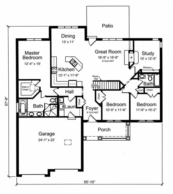 Craftsman Floor Plan - Main Floor Plan Plan #46-524