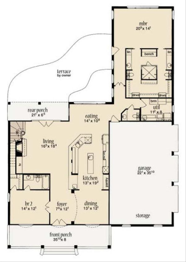 Farmhouse Floor Plan - Main Floor Plan Plan #36-471