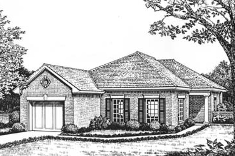European Style House Plan - 2 Beds 2 Baths 1352 Sq/Ft Plan #310-564 Exterior - Front Elevation