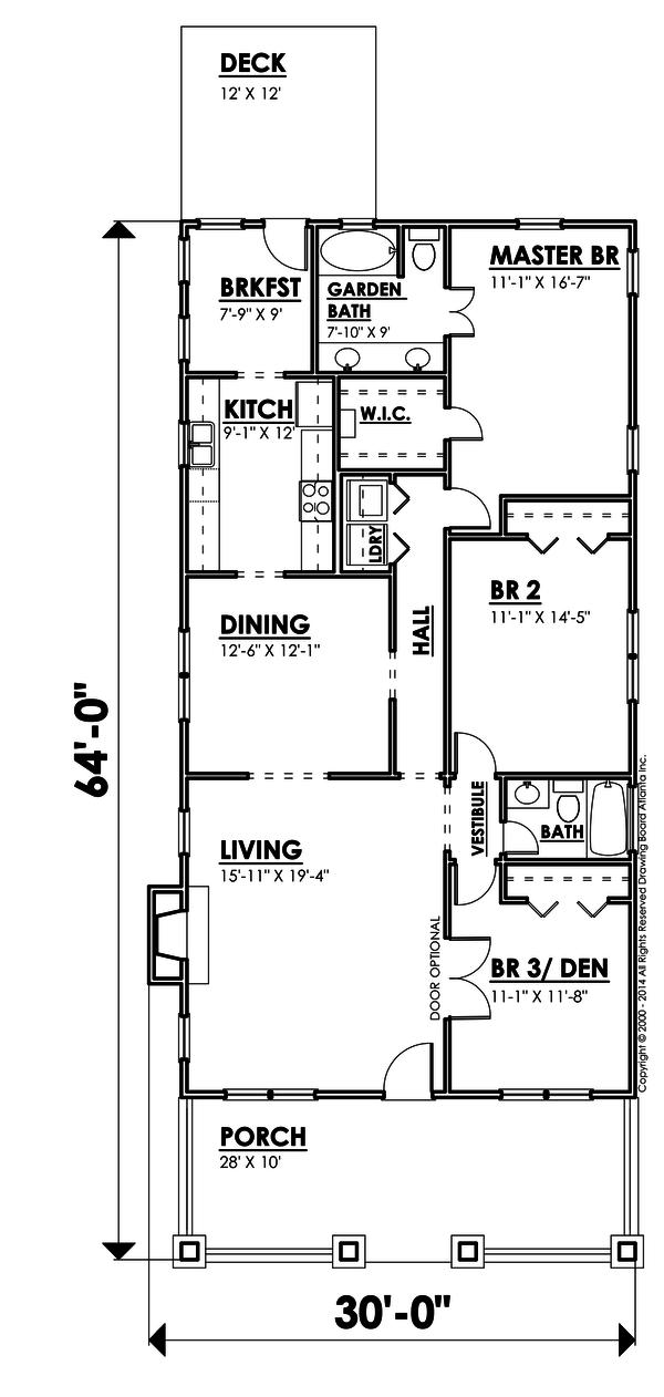 Bungalow Floor Plan - Main Floor Plan #30-207