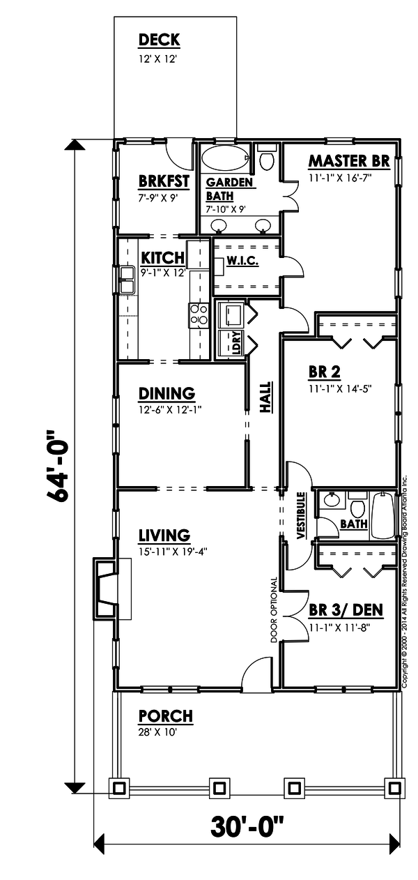 Bungalow Style House Plan - 3 Beds 2 Baths 1948 Sq/Ft Plan #30-207 Floor Plan - Main Floor Plan