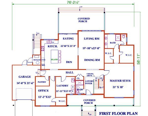 Dream House Plan - Farmhouse Floor Plan - Main Floor Plan #3-344