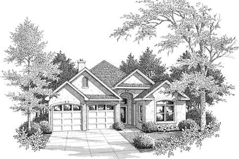 European Exterior - Front Elevation Plan #14-233