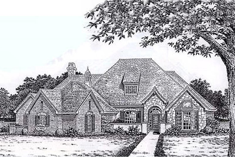 European Style House Plan - 4 Beds 3.5 Baths 2876 Sq/Ft Plan #310-865 Exterior - Front Elevation