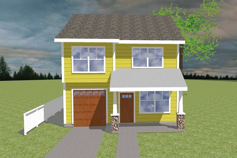 Craftsman Style House Plan - 3 Beds 2.5 Baths 1357 Sq/Ft Plan #423-6 Exterior - Front Elevation