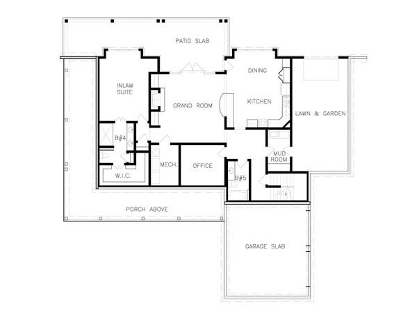 Farmhouse Floor Plan - Lower Floor Plan Plan #54-392
