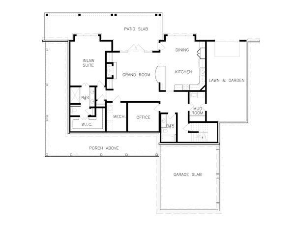 Dream House Plan - Farmhouse Floor Plan - Lower Floor Plan #54-392