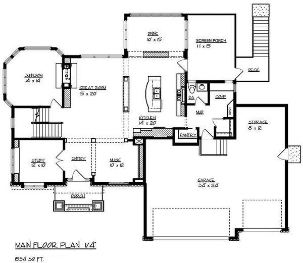Traditional Floor Plan - Main Floor Plan Plan #320-487