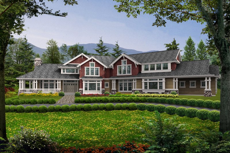 Craftsman Style House Plan - 5 Beds 4.5 Baths 4375 Sq/Ft Plan #132-166 Exterior - Front Elevation