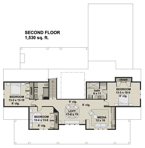 Farmhouse Floor Plan - Upper Floor Plan Plan #51-1160
