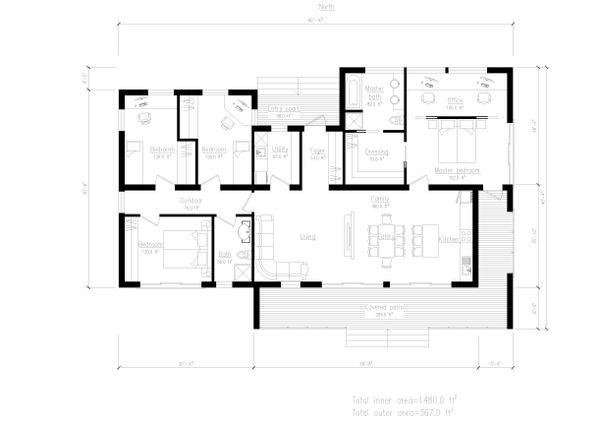 Modern Style House Plan - 4 Beds 2 Baths 1480 Sq/Ft Plan #549-12 Floor Plan - Main Floor Plan