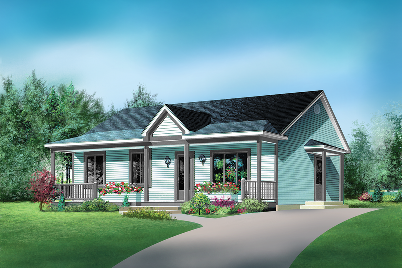Country Style House Plan - 3 Beds 1 Baths 988 Sq/Ft Plan #25-4808 Exterior - Front Elevation