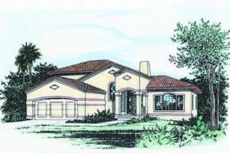Mediterranean Exterior - Front Elevation Plan #20-827
