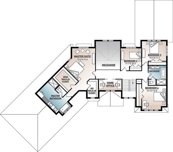 Traditional Floor Plan - Upper Floor Plan #23-2311