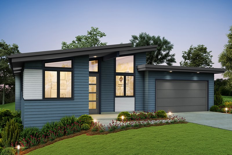 Contemporary Style House Plan - 3 Beds 2.5 Baths 1744 Sq/Ft Plan #48-946 Exterior - Front Elevation