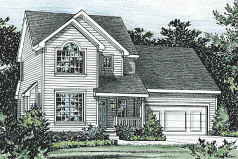 Traditional Style House Plan - 3 Beds 2.5 Baths 1395 Sq/Ft Plan #20-1245 Exterior - Front Elevation