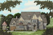 Tudor Style House Plan - 4 Beds 4 Baths 4934 Sq/Ft Plan #413-124 Exterior - Front Elevation