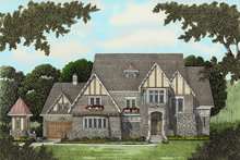 Dream House Plan - Tudor Exterior - Front Elevation Plan #413-124