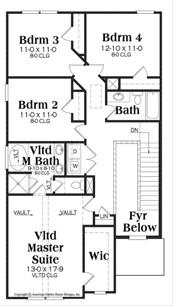 Traditional Floor Plan - Upper Floor Plan #419-277