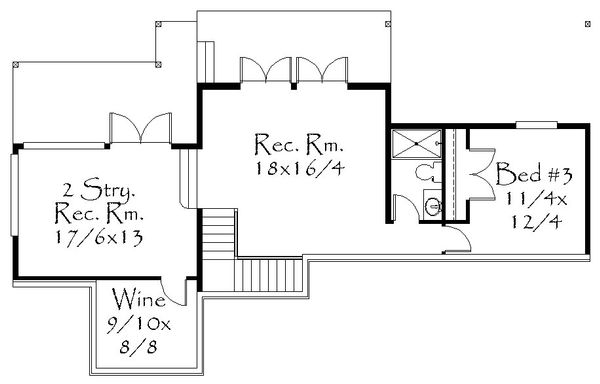 Prairie Floor Plan - Lower Floor Plan Plan #509-63