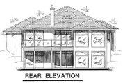 European Style House Plan - 2 Beds 2 Baths 1800 Sq/Ft Plan #18-148 Exterior - Rear Elevation