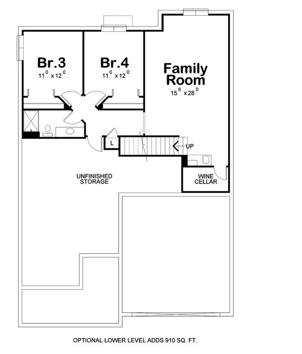 Ranch Floor Plan - Lower Floor Plan Plan #20-2313