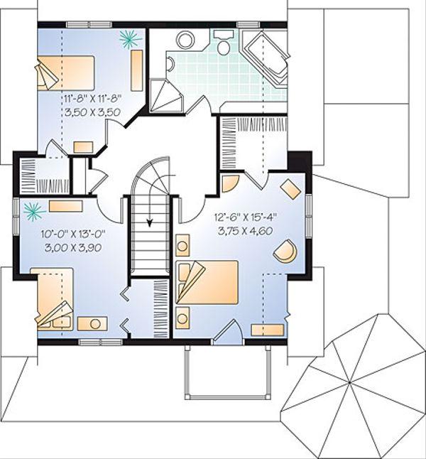Victorian Floor Plan - Upper Floor Plan Plan #23-2178