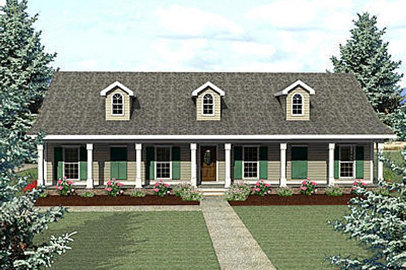 Country Exterior - Front Elevation Plan #44-123 - Houseplans.com