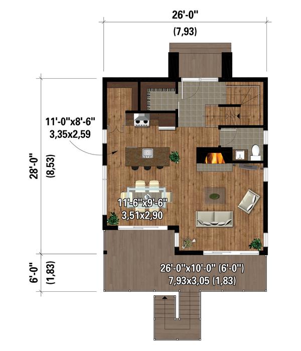 House Plan Design - Cottage Floor Plan - Main Floor Plan #25-4924