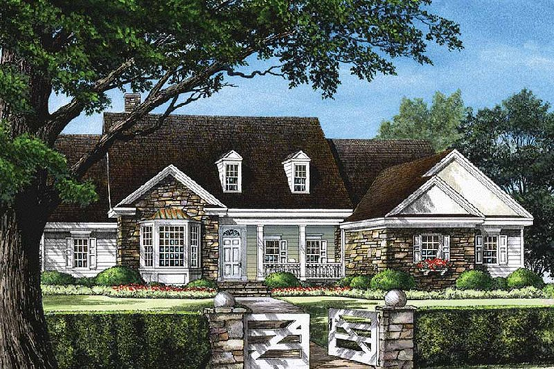 Southern Exterior - Front Elevation Plan #137-205 - Houseplans.com