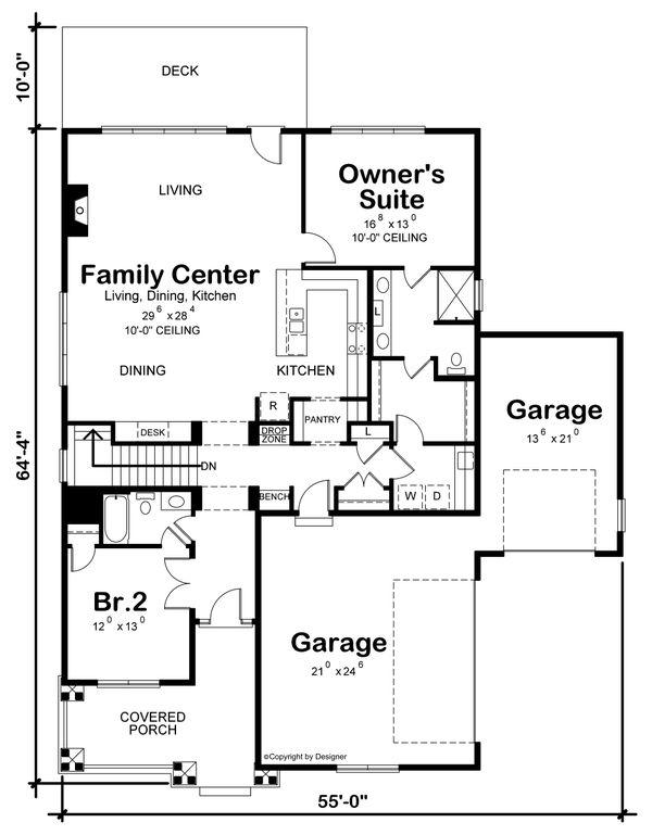 Dream House Plan - Craftsman Floor Plan - Main Floor Plan #20-2459