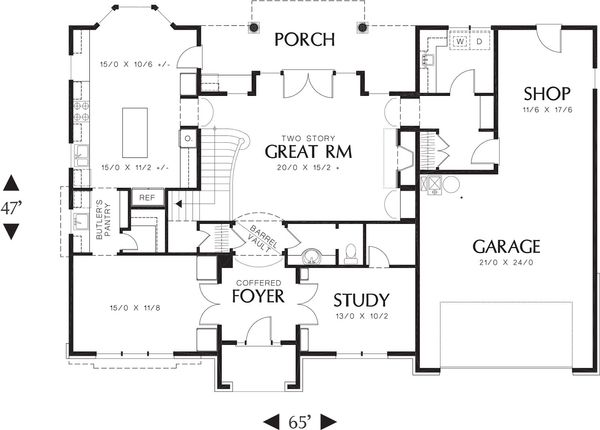 Tudor Style House Plan - 3 Beds 3.5 Baths 3560 Sq/Ft Plan #48-664 Floor Plan - Main Floor Plan