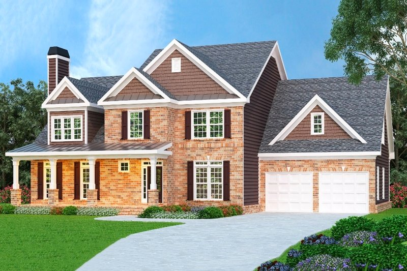 Craftsman Style House Plan - 4 Beds 2.5 Baths 2854 Sq/Ft Plan #419-177 Exterior - Front Elevation
