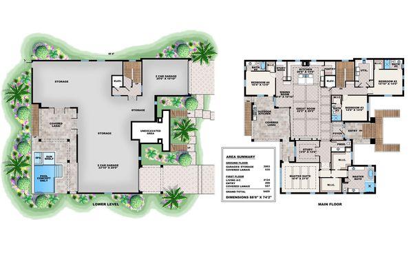 Beach Floor Plan - Main Floor Plan #27-571