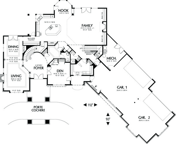 Main level floor plan - 5700 square foot Traditional home