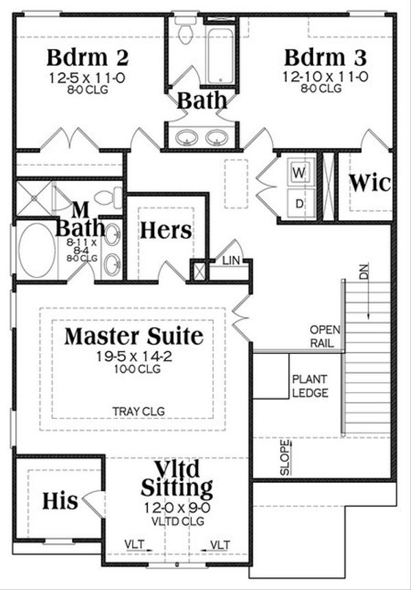 Traditional Floor Plan - Upper Floor Plan Plan #419-255